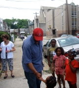 Me and Mike. Mayor Nutter greets W Rockland St kids in 2011