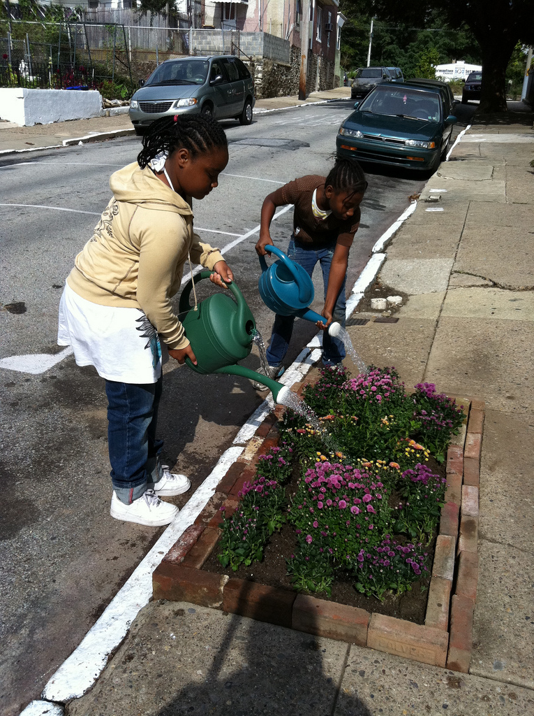 Watering new pop up sidewalk gardens on W Rockland St