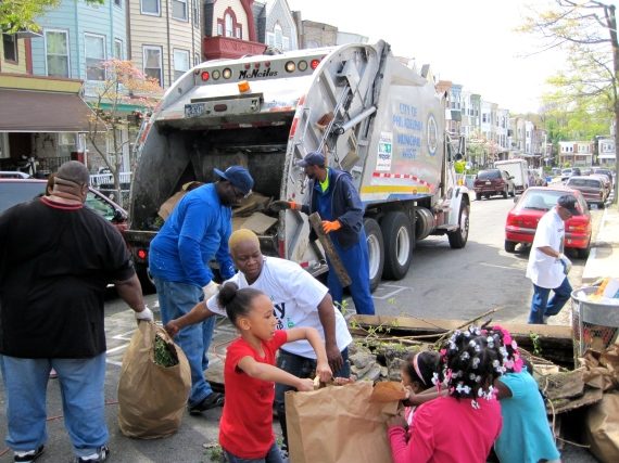 Loading up the Streets Department trash truck during the 2012 Philly Spring Cleanup