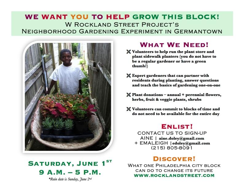 Grow This Block! volunteer flyer
