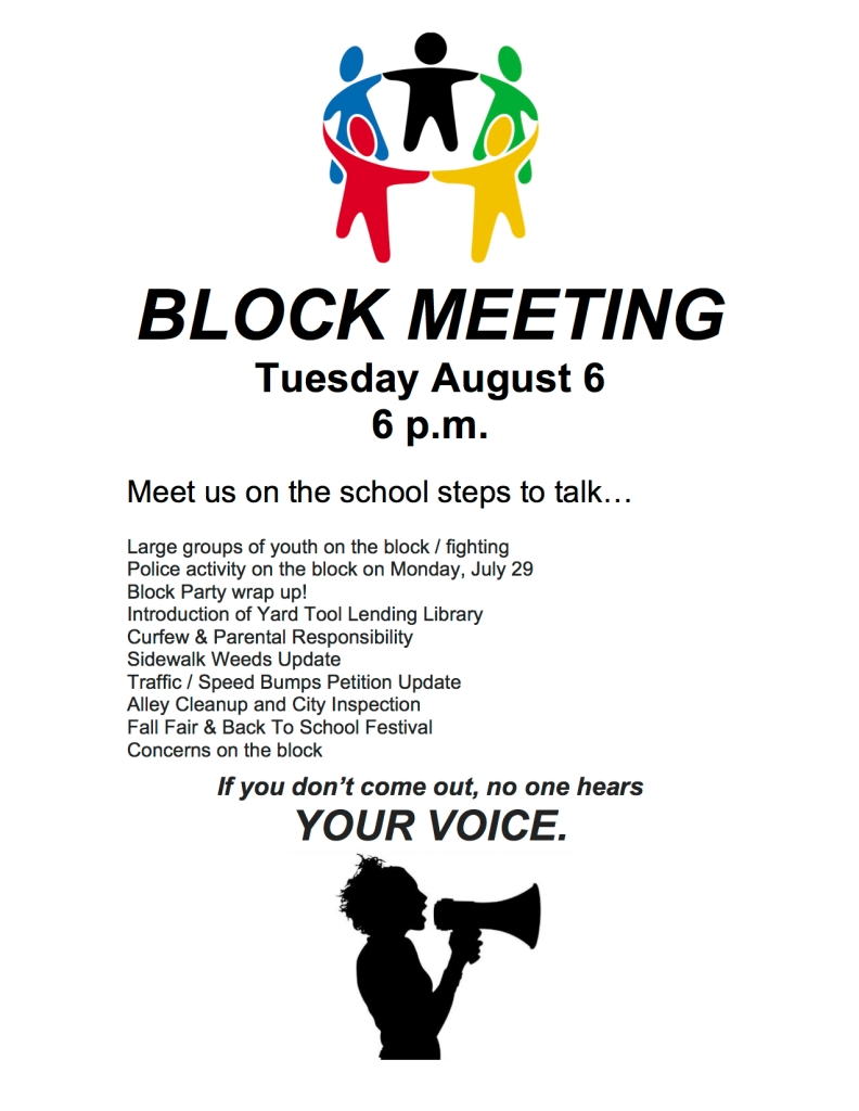Flyer: Block Meeting August 6