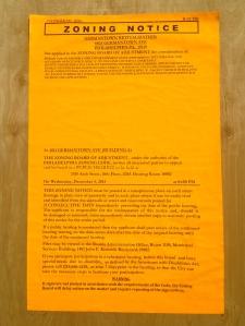 Zoning Notice for 4811 Germantown Avenue, Philadelphia
