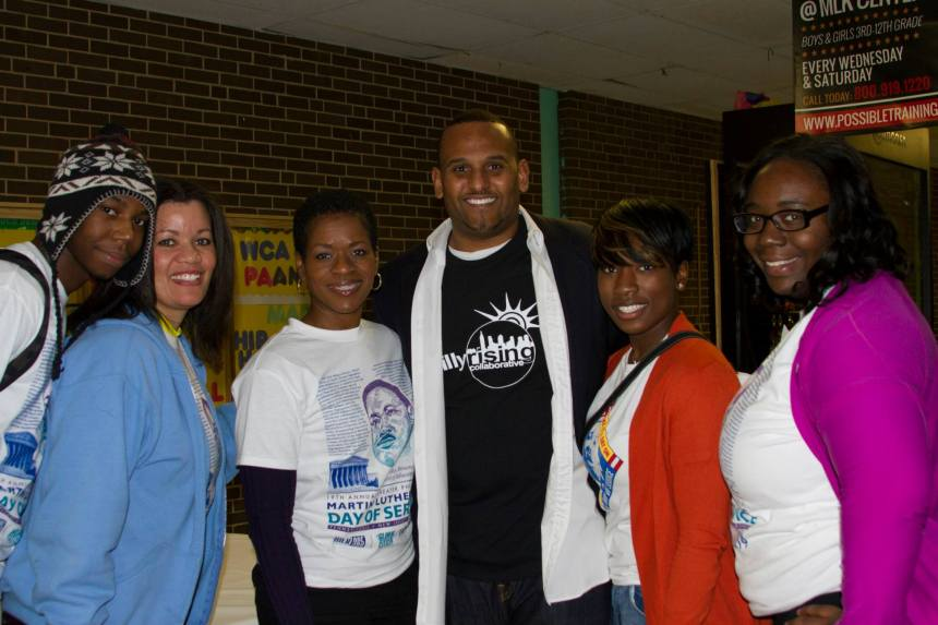 Northwest Division's Jimmie Sanders with volunteers.