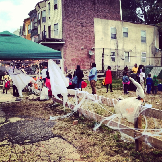 Halloween 2013: Kid's party in the vacant lot with candy, games and prizes.