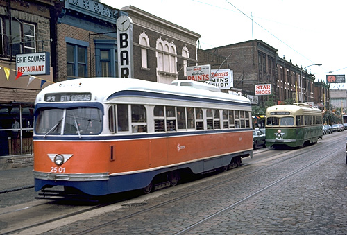 SEPTA's Route 23 trolley on Germantown Avenue approaching Eerie Avenue on July 13, 1977. Photo by Mike Szilagyi.