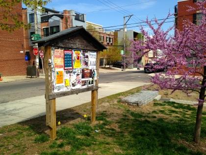 Neighborhood bulletin board at Liberty Lands Park in Northern Liberties.