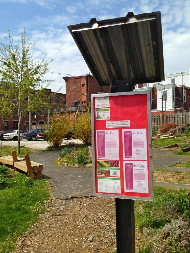 My favorite example is a neighborhood bulletin board in Lutheran Settlement House's garden on Frankford Avenue in Fishtown, near Master Street.