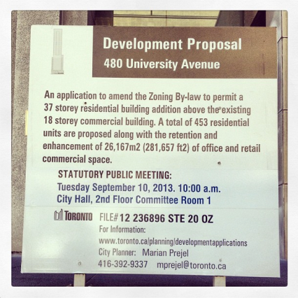 """Big development notices are made very public in Toronto,"" notes Ashley Hahn on Instagram."