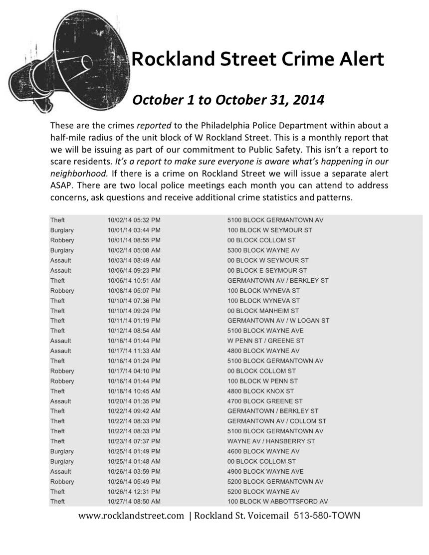 October Crime Alert