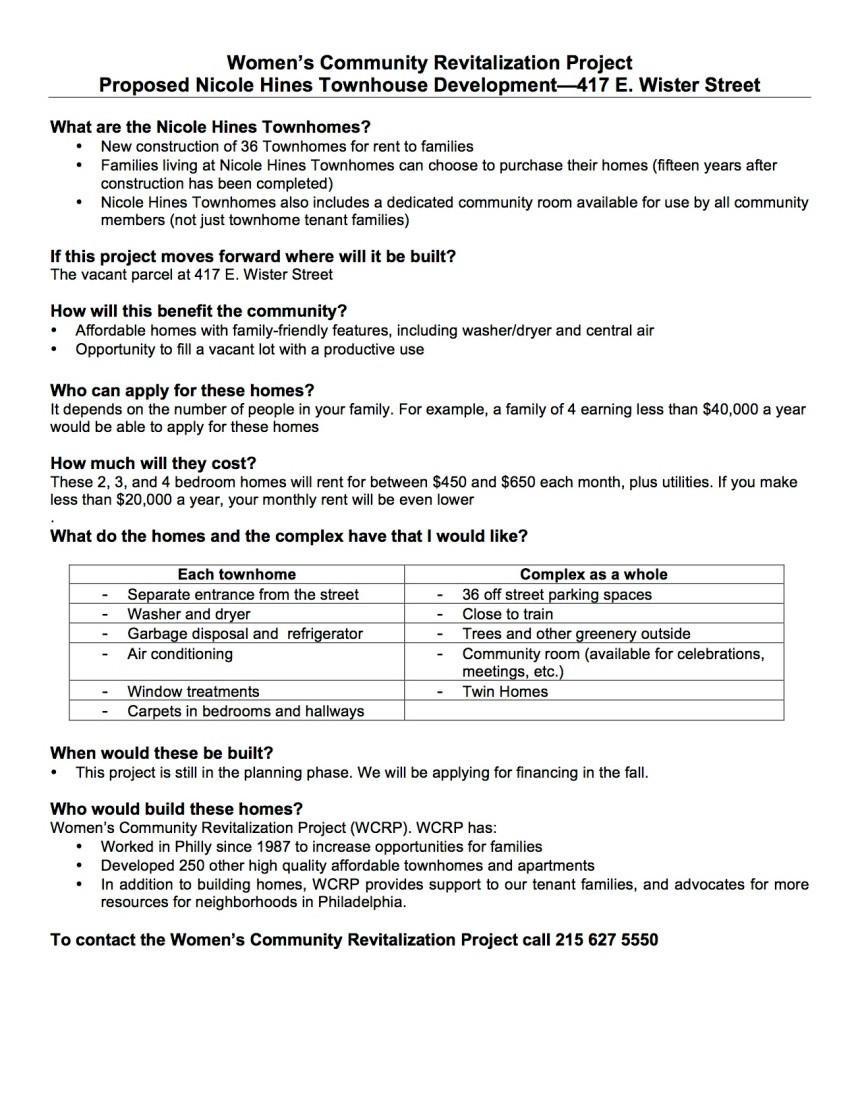 WCRP_Nicole Hines townhomes fact sheet