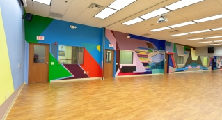 "Michelle Oosterbaan's mural ""Pulse"" at the Philadelphia Center for Art and Technology."