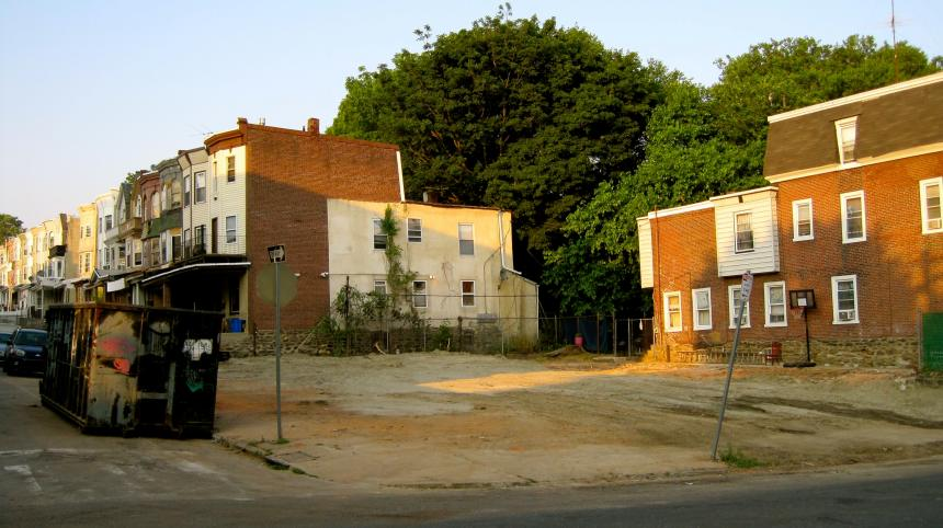 W Rockland St's very own sand lot. The condition  of the lot after the demolition of the houses in June 2011.