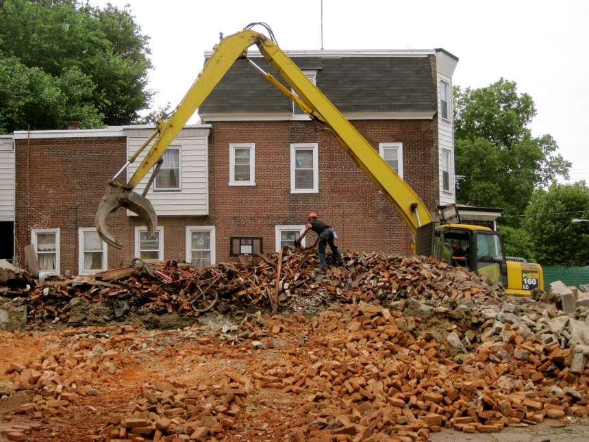 Demolition of 4817 and 4815 Greene St in June 2011, funded by the Neighborhood Stabilization Program (U.S. Department of Housing and Urban Development), managed by the Redevelopment Authority.